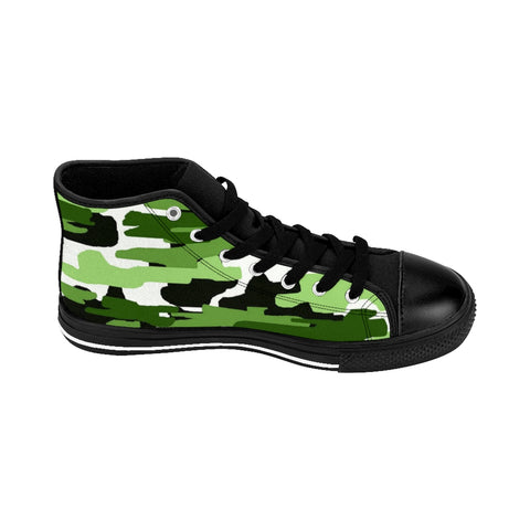 Green Camo Print Men's Sneakers, Green White Camouflage Army Military Print Designer Men's Shoes, Men's High Top Sneakers US Size 6-14, Mens High Top Casual Shoes, Unique Fashion Tennis Shoes, Camo Print Printed Sneakers Shoes (US Size: 6-14)