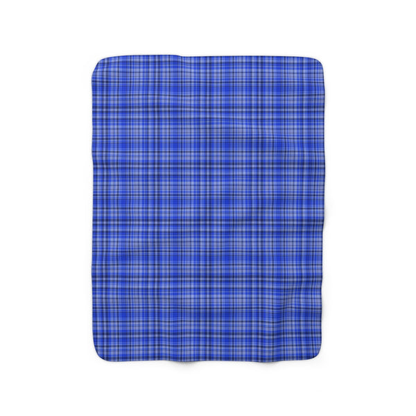 Preppy Blue Plaid Tartan Print Designer Cozy Sherpa Fleece Blanket-Made in USA-Blanket-50'' x 60''-Heidi Kimura Art LLC