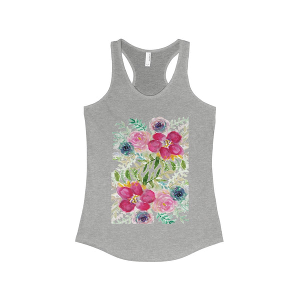 Pink Rose Bouquet Floral Print Women's Ideal Racerback Tank - Made in USA-Tank Top-90/10 Heather Gray-XS-Heidi Kimura Art LLC