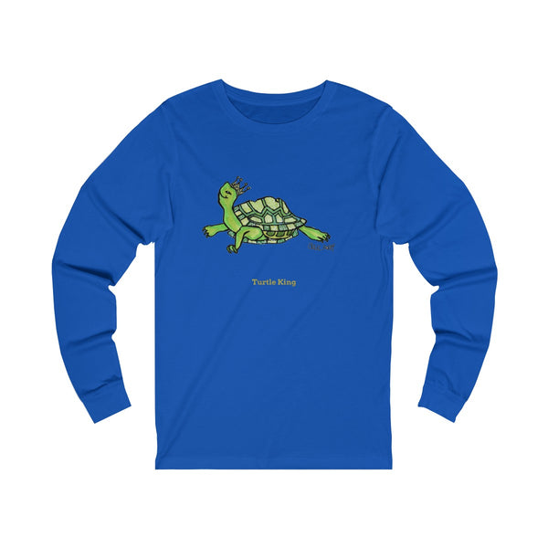 Turtle King Unisex Jersey Long Sleeve Tee Unisex T-Shirt, Made in USA (Size: X-2XL)-Long-sleeve-True Royal-S-Heidi Kimura Art LLC