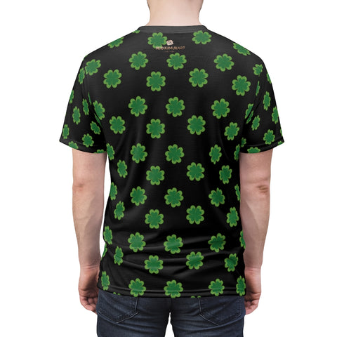 Black Green Clover Unisex Tee, St. Patrick's Day Print Soft Microfiber Shirt- Made in USA-Unisex T-Shirt-4 oz.-Black Seams-L-Heidi Kimura Art LLC