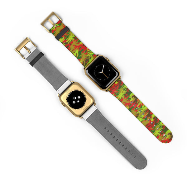 Red Green Red Camo Print 38mm/42mm Watch Band For Apple Watches- Made in USA-Watch Band-Heidi Kimura Art LLC
