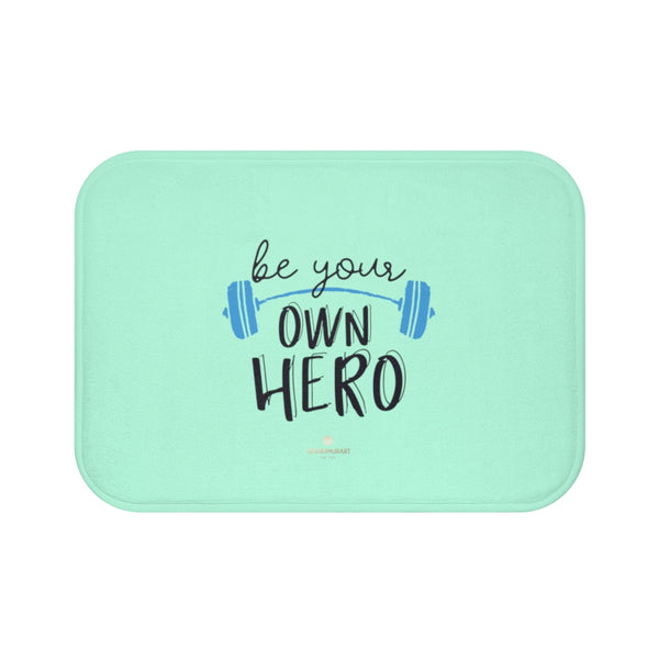 "Light Blue ""Be Your Own Hero"" Inspirational Quote Microfiber Bath Mat- Printed in USA-Bath Mat-Small 24x17-Heidi Kimura Art LLC"