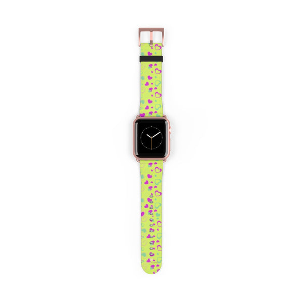 Light Green Pink Hearts Shaped Print Premium 38mm/ 42mm Watch Band- Made in USA-Watch Band-38 mm-Rose Gold Matte-Heidi Kimura Art LLC