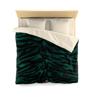 Green Tiger Stripe Duvet Cover, Animal Print Queen/Twin Size Microfiber Bedding Cover-Duvet Cover-Queen-Cream-Heidi Kimura Art LLC