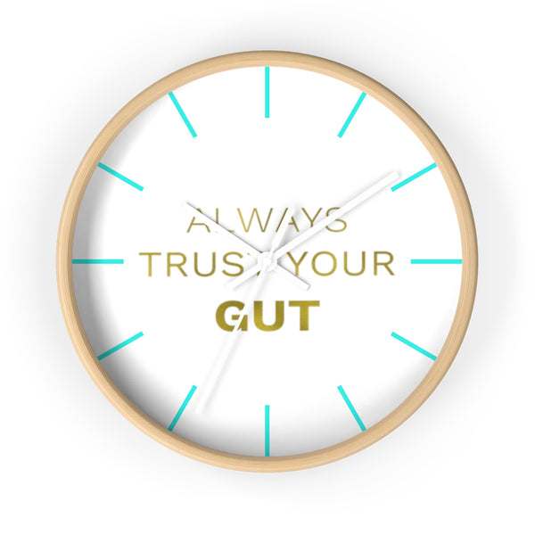 "Inspirational Quote Wall Clock, 10"" Dia. Clock w/ ""Always Trust Your Gut"" Quote- Made in USA-Wall Clock-Wooden-White-Heidi Kimura Art LLC"