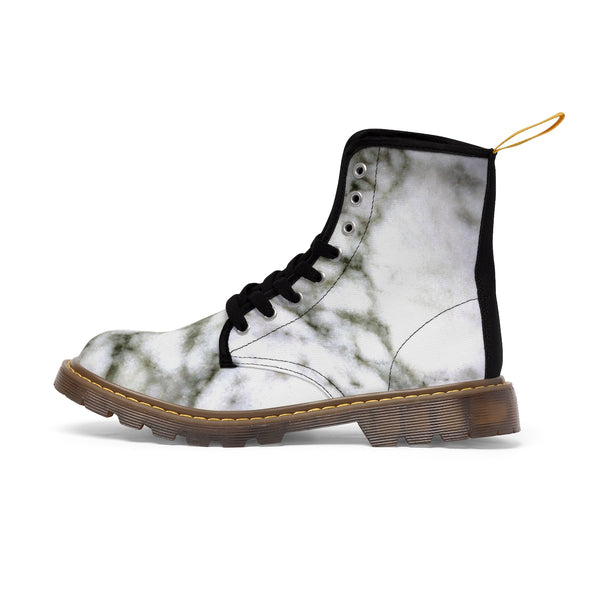 White Marble Print Designer Women's Canvas Lace-up Winter Boots Shoes (US Size: 6.5-11)-Women's Boots-Heidi Kimura Art LLC