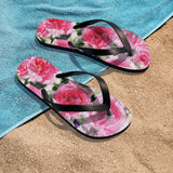 Growing Pink French Rose Print Unisex Designer Flip-Flops - Made in USA (Size: S, M, L) - Heidi Kimura Art LLC