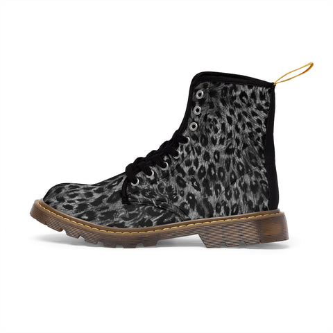 Grey Leopard Women's Canvas Boots, Animal Print Winter Boots For Ladies-Shoes-Printify-Brown-US 9-Heidi Kimura Art LLC Grey Leopard Women's Canvas Boots, Animal Print Ladies Fashion Lace-Up Hiking Boots, Best Ladies' Combat Boots, Designer Women's Winter Lace-up Toe Cap Hiking Boots Shoes For Women (US Size 6.5-11)