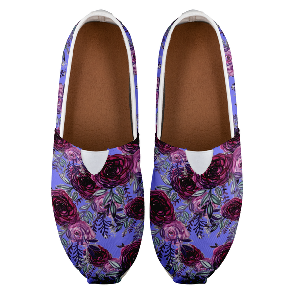 Cara Purple Rose Floral Print Women's Casual Slip on Sneakers Shoes (US Size: 4.5-14)Women's Comfy Flats Casual Shoes, Slip Ons,Floral Print Shoes,Floral Femme,Vintage Floral Cara Purple Rose Floral Print Women's Casual Slip on Sneakers Shoes (US Size: 4.5-14)Women's Comfy Flats Casual Shoes