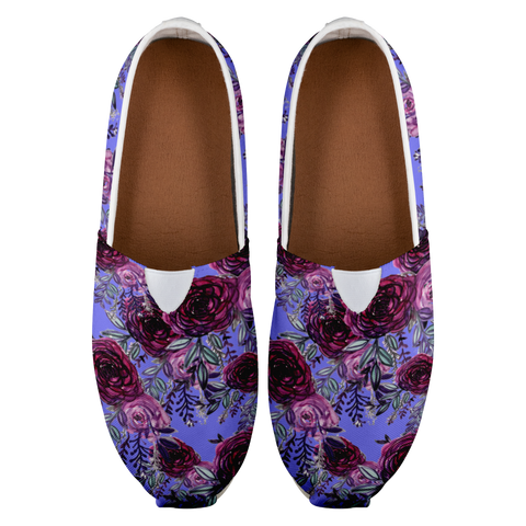 Purple Rose Floral Print Women's Casual Slip on Sneakers Shoes (US Size: 4.5-14)-Slip-On Sneakers-Heidi Kimura Art LLC