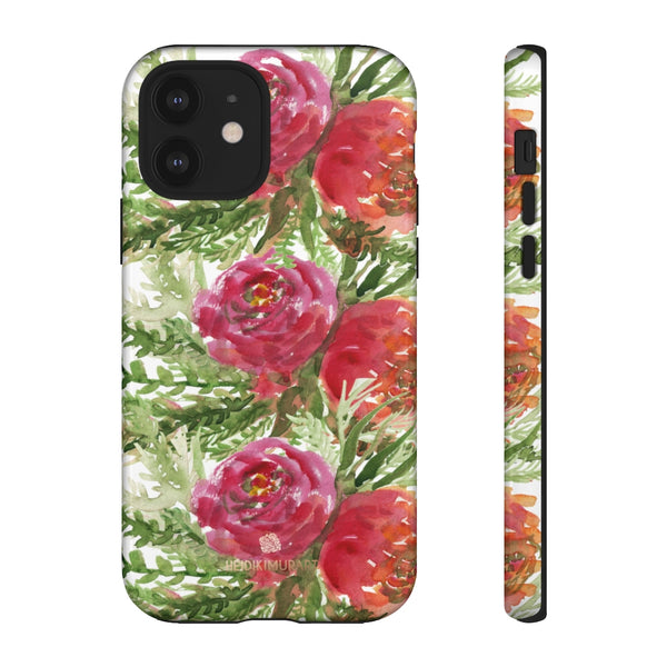 Red Orange Floral Phone Case, Flower Print Tough Designer Phone Case -Made in USA-Phone Case-Printify-iPhone 12-Glossy-Heidi Kimura Art LLC