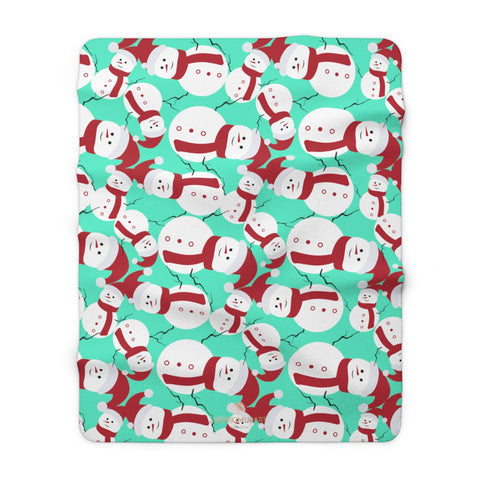 "Light Blue White Red Christmas Cute Fluffy Snowman Print Cozy Sherpa Fleece Blanket-Blanket-60"" x 80""-Heidi Kimura Art LLC"