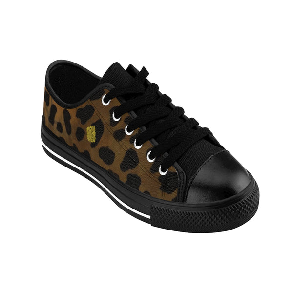 Brown Leopard Print Animal Print Women's Fashion Canvas Sneakers (US Size: 6-12)-Women's Low Top Sneakers-Heidi Kimura Art LLC