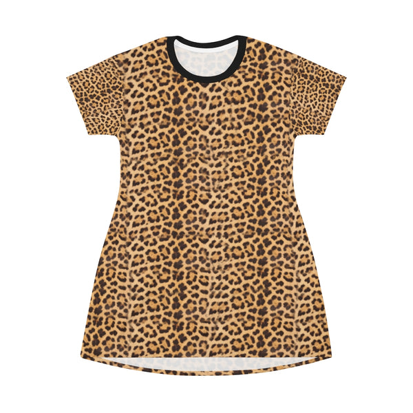 Brown Leopard Print T-Shirt Dress, Modern Leopard Animal Printed Women's Dress-Made in USA-All Over Prints-Printify-Heidi Kimura Art LLC