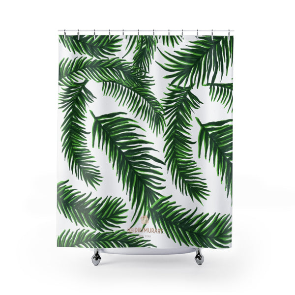 "Jungle White Green Palm Tree Leaf Print Bathroom Shower Curtains- Printed in USA-Shower Curtain-71"" x 74""-Heidi Kimura Art LLC Jungle White Bath Curtains, Modern White and Green Tropical Tree Palm Leaf Print Designer Shower Curtains - Printed in USA, Premium Bathroom Shower Curtains, Home Decor, Large 100% Polyester 71x74 inches Shower Curtains, Bathroom Shower Curtains, Jungle Hawaiian Summer Nature Print"