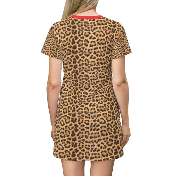 Brown Leopard Print T-Shirt Dress, Cute Modern Leopard Animal Printed Women's Dress-Made in USA-All Over Prints-Printify-Heidi Kimura Art LLC