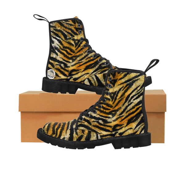 Tiger Striped Animal Skin Pattern Designer Women's Winter Lace-up Toe Cap Boots-Women's Boots-Heidi Kimura Art LLC Tiger Striped Women's Boots, Tiger Striped Animal Skin Pattern Designer Women's Bestselling Best Winter Lace-up Toe Cap Hiking Boots Shoes (US Size: 6.5-11)