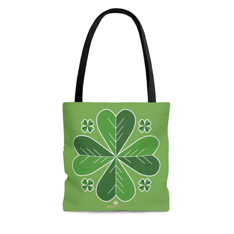 Lucky Light Green Irish Green Clover Leaf St. Patrick's Day Print Tote Bag- Made in USA-Tote Bag-Large-Heidi Kimura Art LLC
