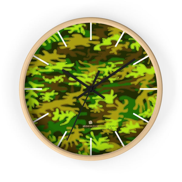 Bright Green Camo Camouflage Military Army Print Large Unique Wall Clocks- Made in USA-Wall Clock-10 in-Wooden-Black-Heidi Kimura Art LLC