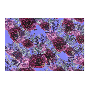 "Red Rose Purple Floral Print Designer 24x36, 36x60, 48x72 inches Area Rugs- Printed in the USA-Area Rug-72"" x 48""-Heidi Kimura Art LLC"