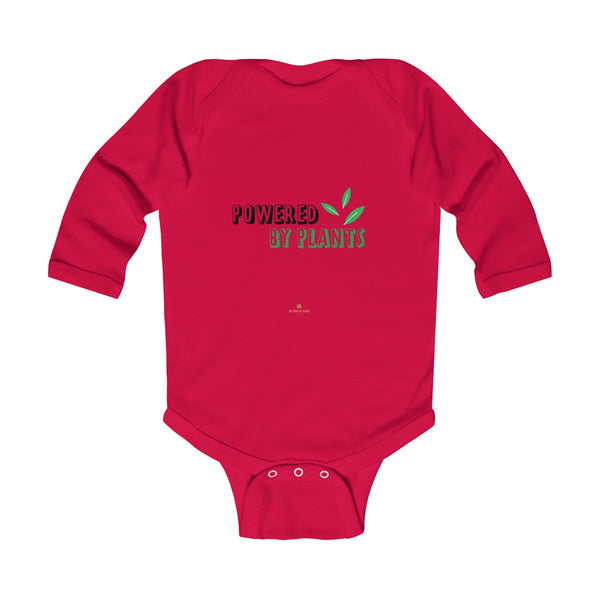 Cute Powered By Plants Vegan Baby Boy/Girls Infant Kids Long Sleeve Bodysuit - Made in USA-Infant Long Sleeve Bodysuit-Red-NB-Heidi Kimura Art LLC