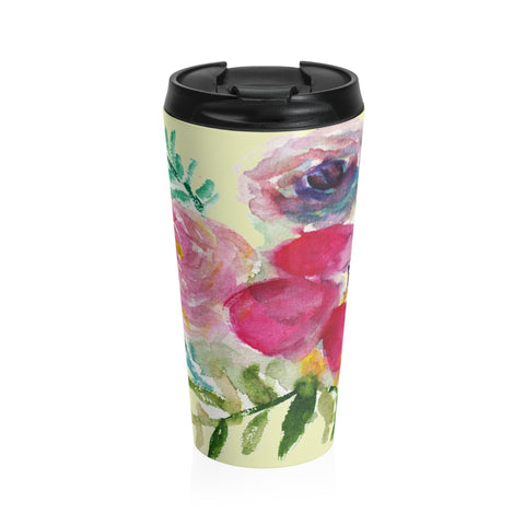 Mixed Pink Purple Rose Flower Floral Print Stainless Steel 15oz Travel Mug - Made in USA-Mug-Travel Mug-Heidi Kimura Art LLC Mixed Pink Travel Cup, Mixed Pink Purple Rose Flower Floral Print Stainless Steel 15oz Travel Mug - Printed in USA