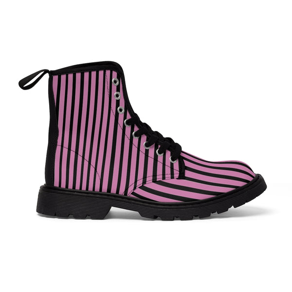 Pink Striped Print Men's Boots, Black Stripes Best Hiking Winter Boots Laced Up Shoes For Men-Shoes-Printify-Heidi Kimura Art LLC Pink Striped Print Men's Boots, Black Pink Stripes Men's Canvas Hiking Winter Boots, Fashionable Modern Minimalist Best Anti Heat + Moisture Designer Comfortable Stylish Men's Winter Hiking Boots Shoes For Men (US Size: 7-10.5)