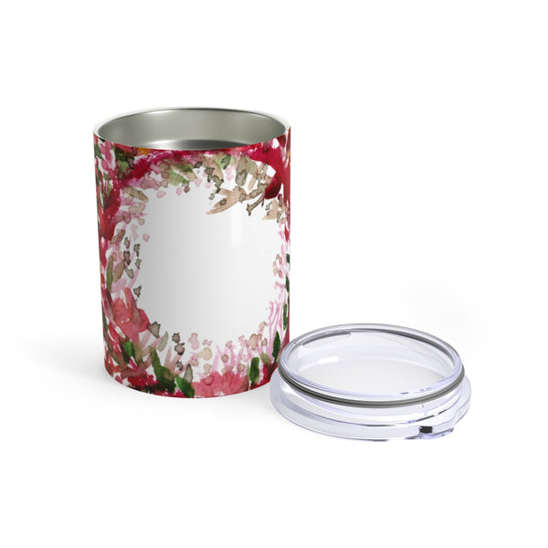Red Rose Floral Print Stainless Steel Tumbler 10oz w/ See-through Plastic Lid-Mug-10oz-Heidi Kimura Art LLC