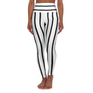 Striped High Waisted Yoga Leggings, Black White Stripes Women's Tights-All Over Prints-Printify-XS-Heidi Kimura Art LLC