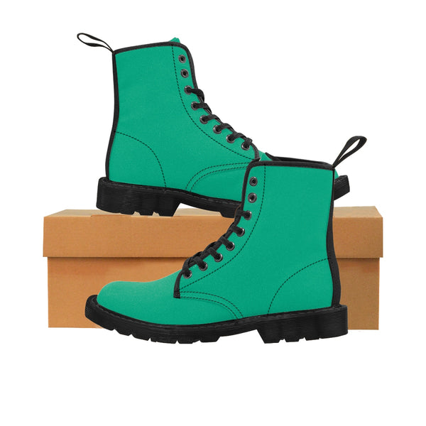 Turquoise Blue Classic Solid Color Designer Women's Winter Lace-up Toe Cap Boots-Women's Boots-Heidi Kimura Art LLC