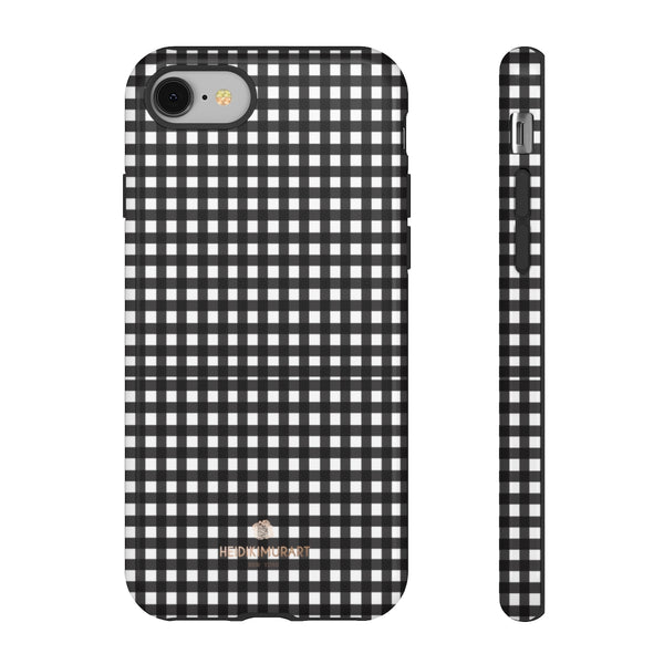 Buffalo Plaid Print Phone Case, Black White Tough Designer Phone Case -Made in USA-Phone Case-Printify-iPhone 8-Glossy-Heidi Kimura Art LLC