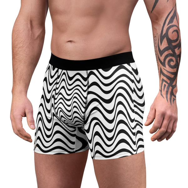 Wavy Men's Boxer Briefs, Patterned Fetish Sexy Underwear For Men, Luxury Premium, Chic Wavy Men's Boxer Briefs, White Black Curvy Pattern Designer Sexy Underwear For Men Sexy Hot Men's Boxer Briefs Hipster Lightweight 2-sided Soft Fleece Lined Fit Underwear - (US Size: XS-3XL)
