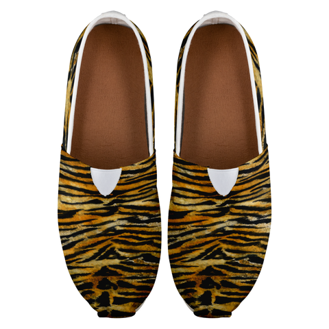 Orange Bengal Tiger Stripe Animal Print Women's Casual Slip-On Sneakers-Slip-On Sneakers-Heidi Kimura Art LLC Tiger Striped Ladies Slip On Sneakers, Elite Luxury Orange Bengal Tiger Stripe Animal Print Women's Comfy Flats Casual Shoes, Slip-On Sneakers (US Size: 4.5-14)