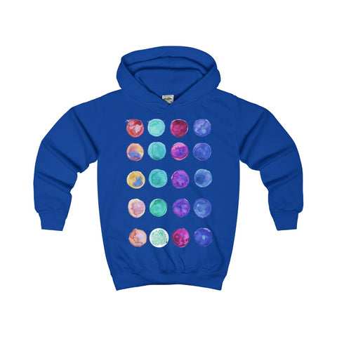 Designer Blue Colorful Cute Polka Dots Kids Hoodie - Made in United Kingdom-Kids clothes-Royal Blue-XS-Heidi Kimura Art LLC
