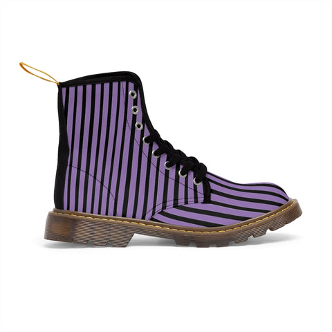 Purple Striped Print Men's Boots, Black Stripes Best Hiking Designer Winter Boots Laced Up Shoes For Men-Shoes-Printify-Heidi Kimura Art LLC