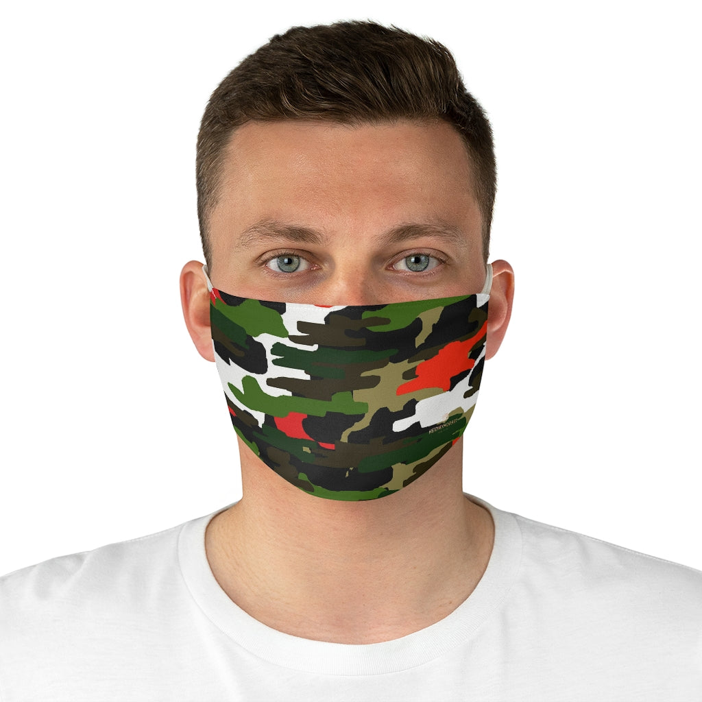 "Green Red Camouflage Print Face Mask, Adult Military Style Modern Fabric Face Mask-Made in USA-Accessories-Printify-One size-Heidi Kimura Art LLCGreen Camouflage Print Face Mask, Adult Military Style Designer Fashion Face Mask For Men/ Women, Designer Premium Quality Modern Polyester Fashion 7.25"" x 4.63"" Fabric Non-Medical Reusable Washable Chic One-Size Face Mask With 2 Layers For Adults With Elastic Loops-Made in USA"