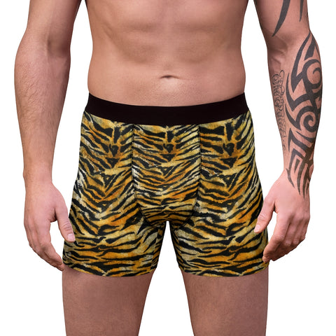 Orange Tiger Men's Boxer Briefs, Striped Animal Print Premium Quality Underwear For Men-All Over Prints-Printify-L-Black Seams-Heidi Kimura Art LLC Tiger Stripe Men's Underwear, Hot Orange Brown Tiger Stripe Animal Print Sexy Hot Men's Boxer Briefs Hipster Lightweight 2-sided Soft Fleece Lined Fit Underwear - (US Size: XS-3XL)