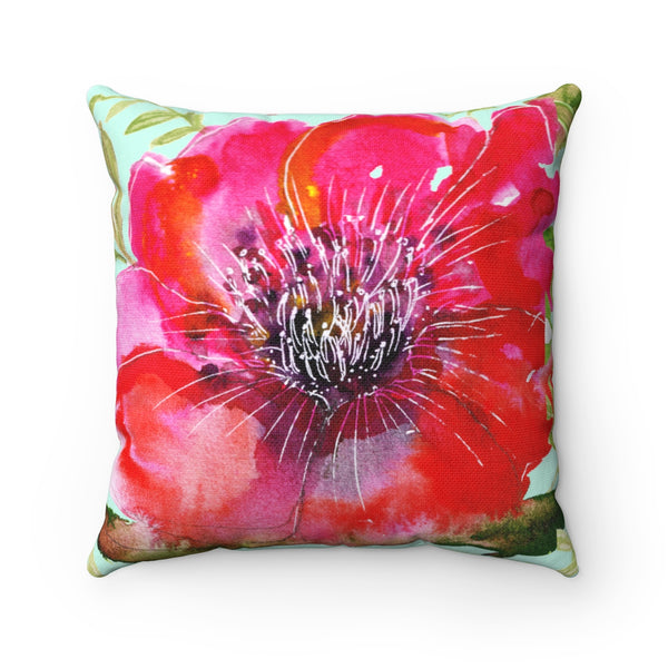 Kokan Red Girlie Floral Print Hibiscus Red Flower Designer Spun Polyester Square Pillow - Made in USA - Heidi Kimura Art LLC