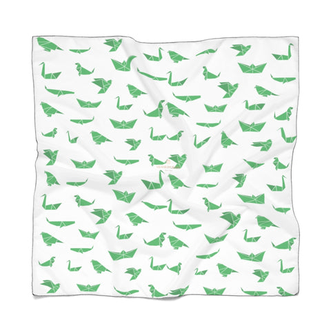 "Green Japanese Crane Poly Scarf, Cute Fashion Accessories For Men/Women- Made in USA-Accessories-Printify-Poly Voile-25 x 25 in-Heidi Kimura Art LLC White Japanese Poly Scarf, Cute Green Crane Birds Print Lightweight Delicate Sheer Poly Voile or Poly Chiffon 25""x25"" or 50""x50"" Luxury Designer Fashion Accessories- Made in USA, Fashion Sheer Soft Light Polyester Square Scarf"