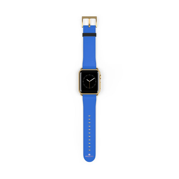 Blue Solid Color 38mm/42mm Watch Band Strap For Apple Watches- Made in USA-Watch Band-38 mm-Gold Matte-Heidi Kimura Art LLC