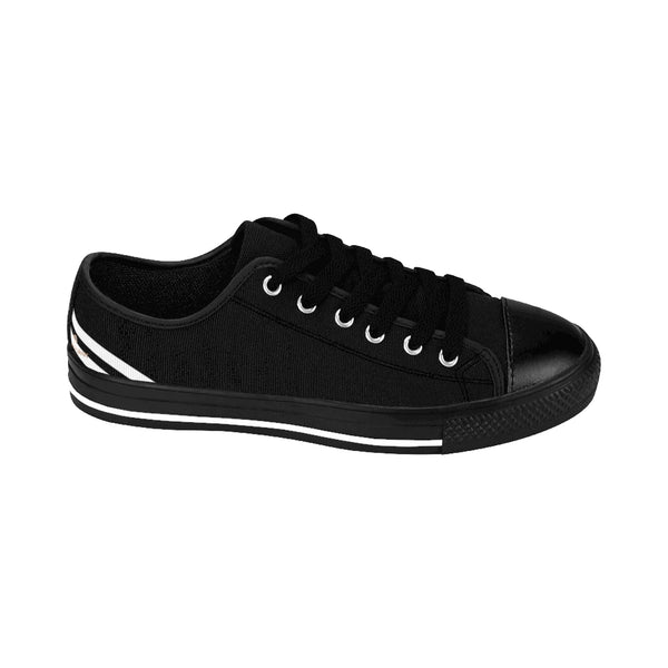 Black White Striped Women's Sneakers-Shoes-Printify-Heidi Kimura Art LLC Black White Striped Women's Sneakers, Modern Women's Striped Sneakers, Classic Modern Stripes Low Tops, Designer Low Top Women's Sneakers Tennis Shoes (US Size: 6-12)
