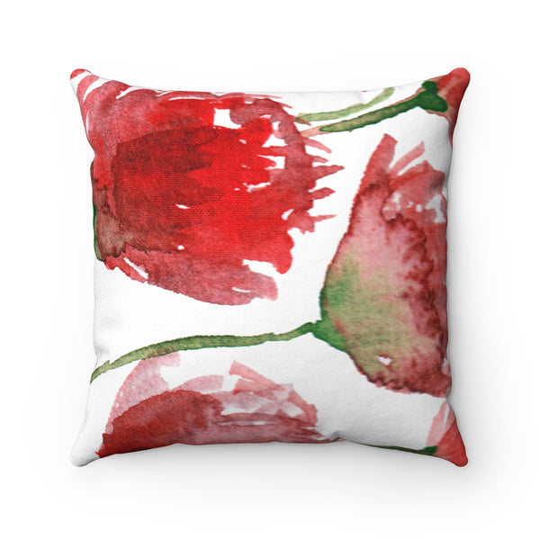 Red Poppy Floral Flower Pattern Spun Polyester Square Pillow Case - Made in USA-Pillow Case Only-Heidi Kimura Art LLC