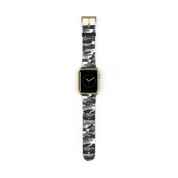 Gray & White Classic Camo Print 38mm/42mm Watch Band For Apple Watch- Made in USA-Watch Band-38 mm-Gold Matte-Heidi Kimura Art LLC