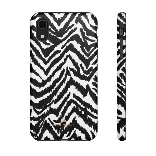 White Tiger Stripe Phone Case, Animal Print Best Tough Designer Phone Case -Made in USA-Phone Case-Printify-iPhone XR-Matte-Heidi Kimura Art LLC
