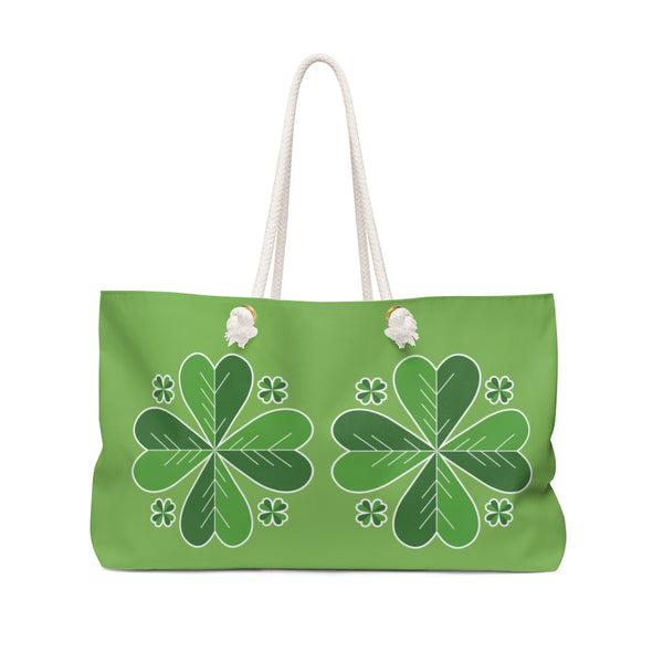 "Light Green Clover Leaf St. Patrick's Day Irish Print 24""x13""Weekender Bag- Made in USA-Weekender Bag-24x13-Heidi Kimura Art LLC"