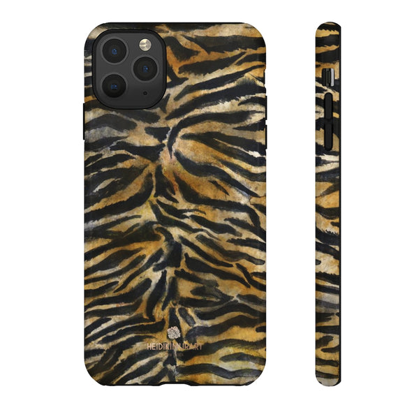 Brown Tiger Striped Tough Cases, Animal Print Best Designer Phone Case-Made in USA-Phone Case-Printify-iPhone 11 Pro Max-Glossy-Heidi Kimura Art LLC