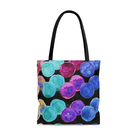 Black Colorful Rainbow Polka Dots Print Designer Colorful Tote Bag - Made in USA