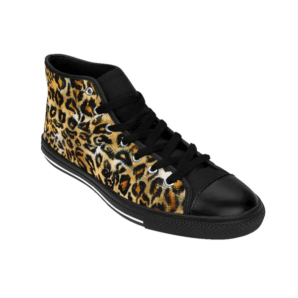 Leopard Print Men's High-top Sneakers, Animal Print Men's Designer Tennis Running Shoes-Men's High Top Sneakers-Printify-ArtsAdd-Heidi Kimura Art LLC