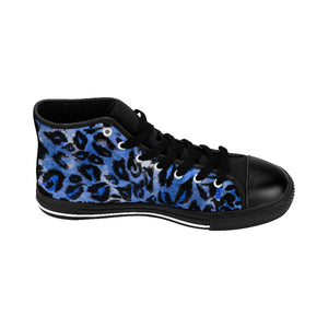 Blue Leopard Animal Print Premium Men's High-top Fashion Sneakers Tennis Shoes-Men's High Top Sneakers-Black-US 9-Heidi Kimura Art LLC Blue Leopard Men's Sneakers, Blue Snow Leopard Animal Print Pattern Designer Men's Shoes, Men's High Top Sneakers US Size 6-14, Tribal Leopard Print Shoes, Unique Sneakers (US Size: 6-14)